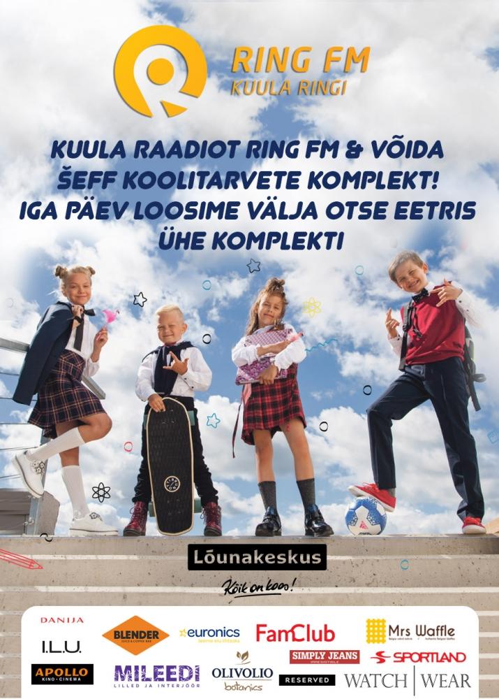Kuulake raadiot Ring FM ja võitke vinge koolitarvete komplekt Lõunakeskuselt!
